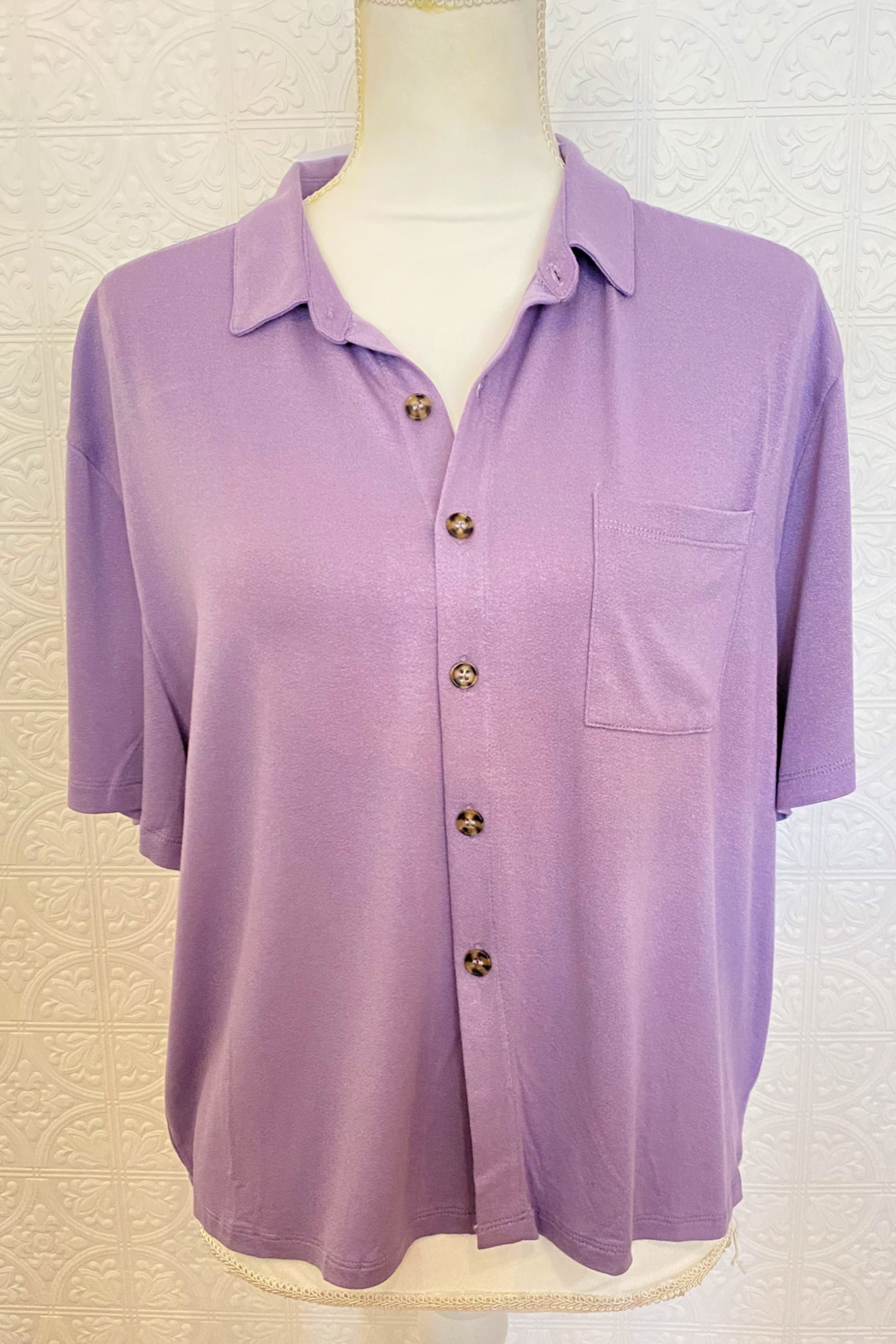 Wholesale Fashion Couture Lavender Top - Front Cropped Image