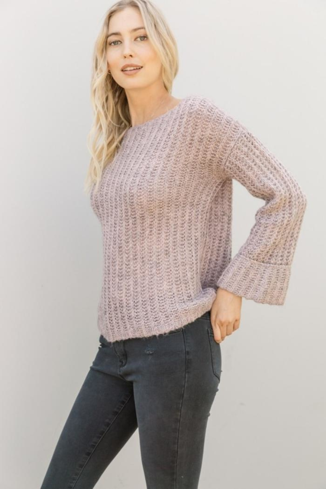 Mystree Lavender Wide-Sleeve Sweater - Side Cropped Image
