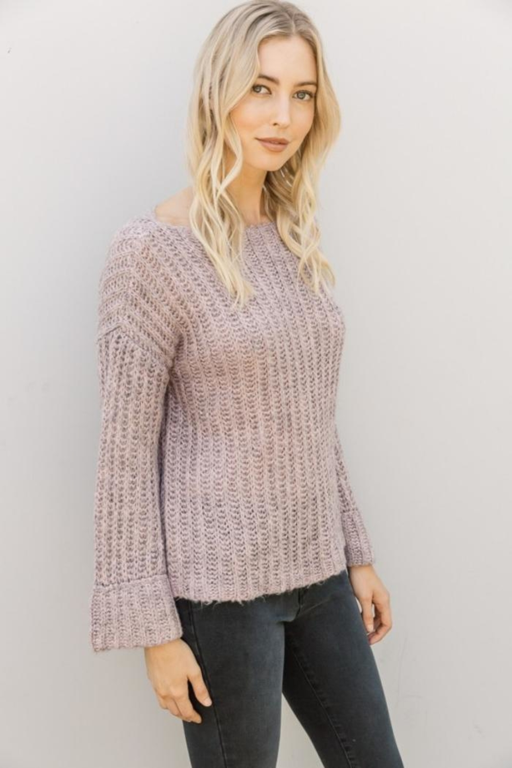 Mystree Lavender Wide-Sleeve Sweater - Front Full Image