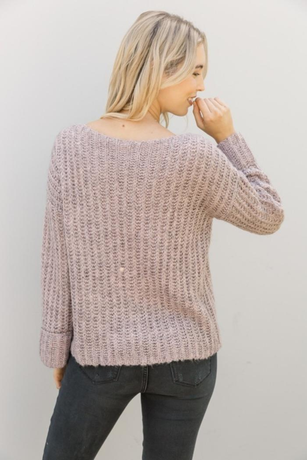 Mystree Lavender Wide-Sleeve Sweater - Back Cropped Image