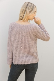 Mystree Lavender Wide-Sleeve Sweater - Back cropped