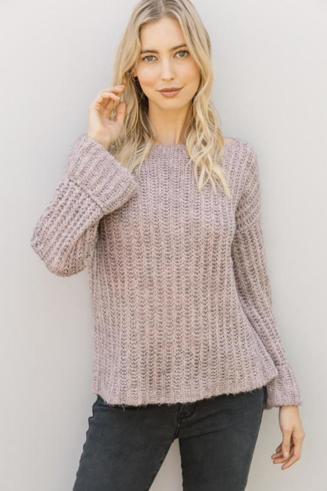 Mystree Lavender Wide-Sleeve Sweater - Main Image