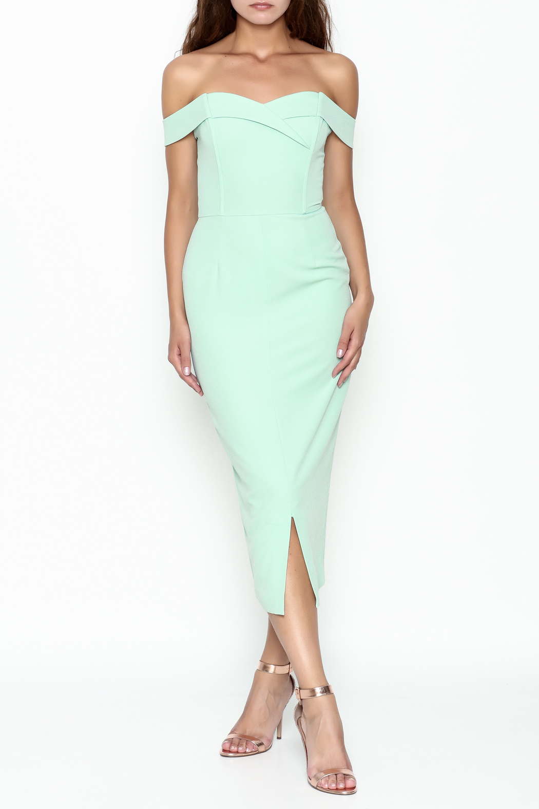 LAVISH ALICE Bardot Fitted Dress - Front Cropped Image