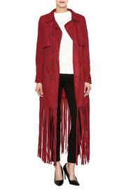 LAVISH ALICE Raspberry Fringe Trench Coat - Product Mini Image