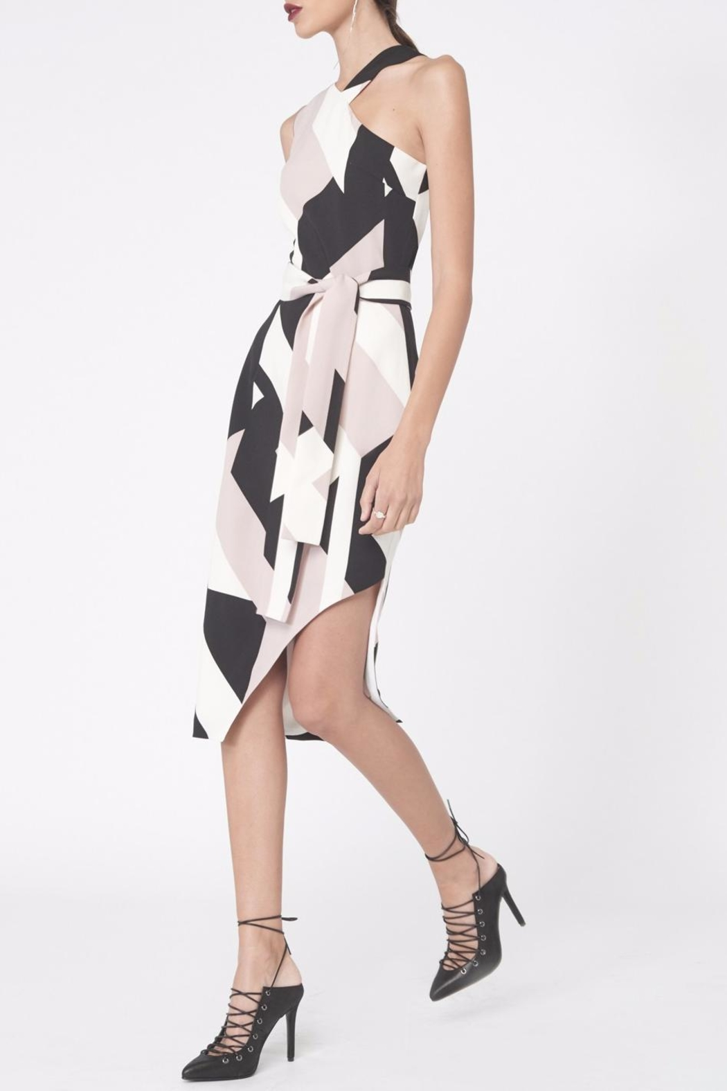 LAVISH ALICE Abstract Print Asymmetric Dress - Front Full Image