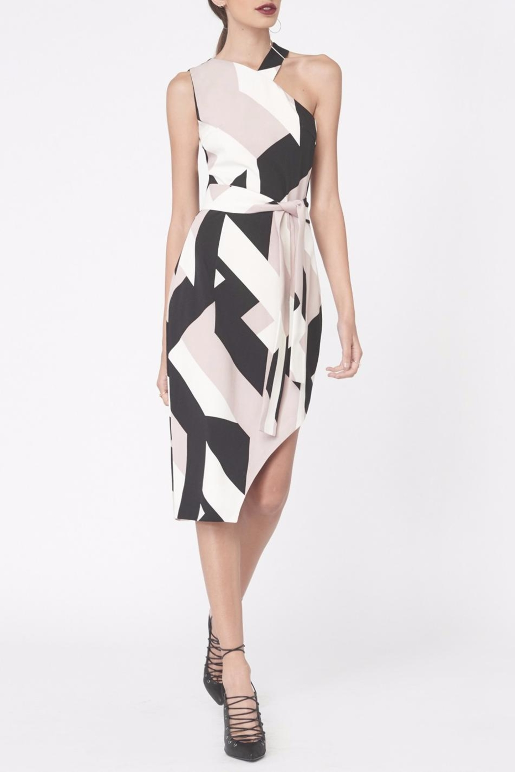 LAVISH ALICE Abstract Print Asymmetric Dress - Front Cropped Image