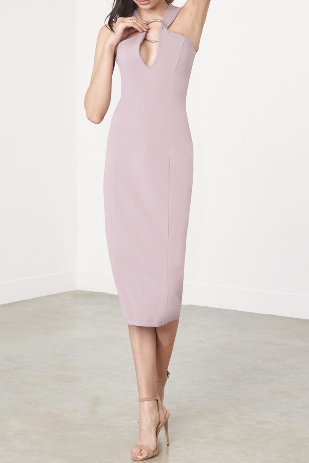 LAVISH ALICE Mauve Metal Ring Dress - Front Full Image