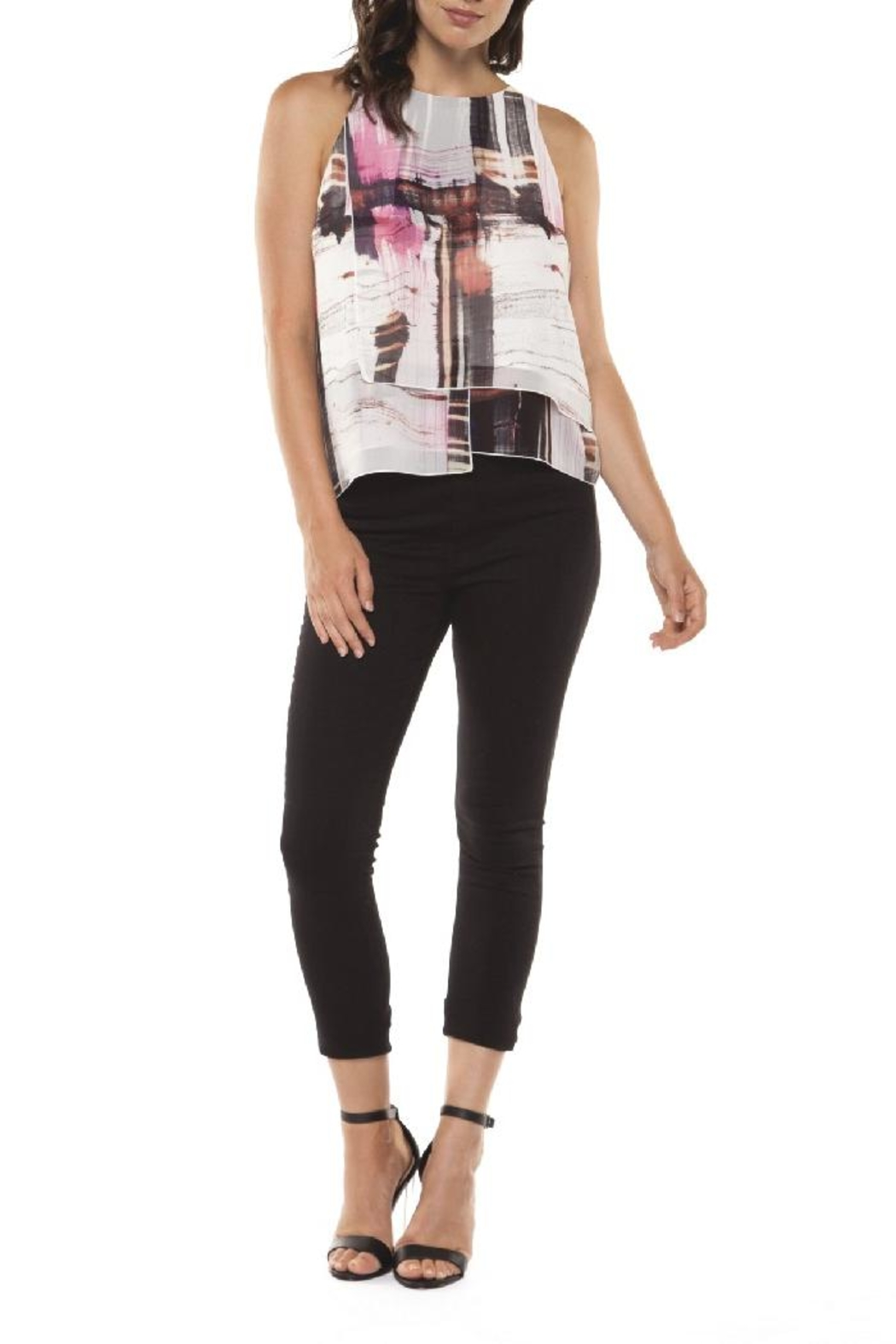 Dex/Black Tape Layered Chiffon Top - Front Cropped Image