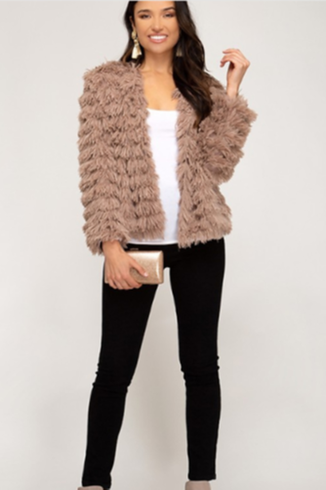 She + Sky Layered Faux Fur Jacket - Front Cropped Image