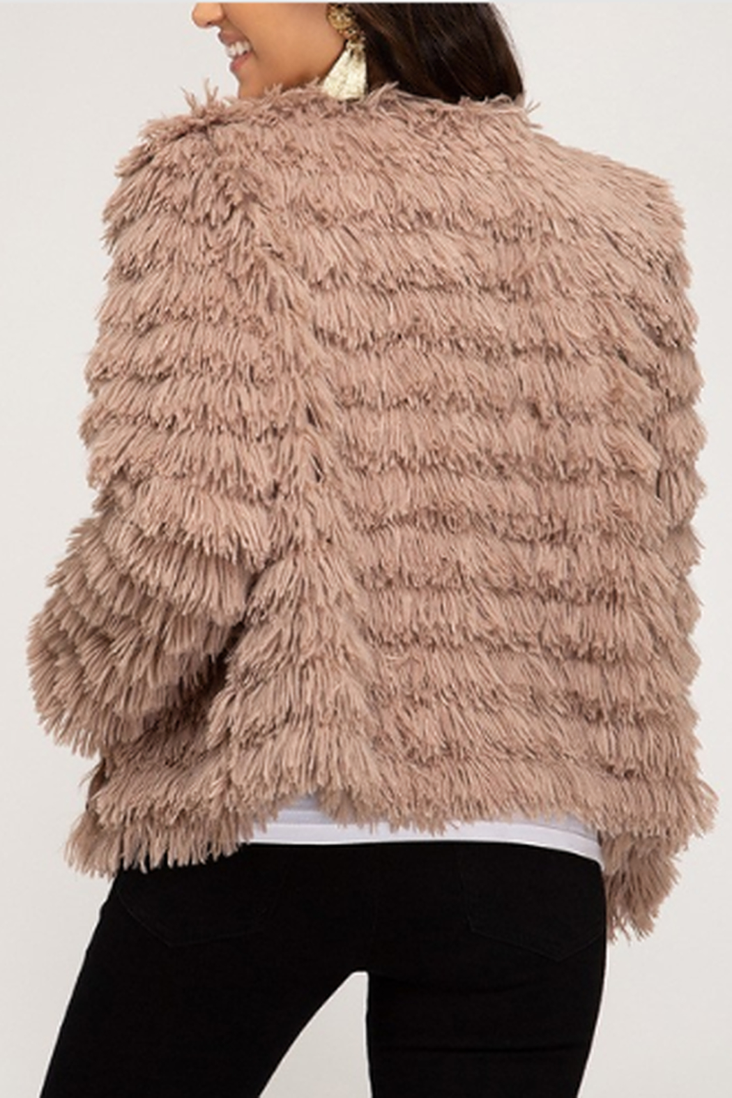 She + Sky Layered Faux Fur Jacket - Front Full Image