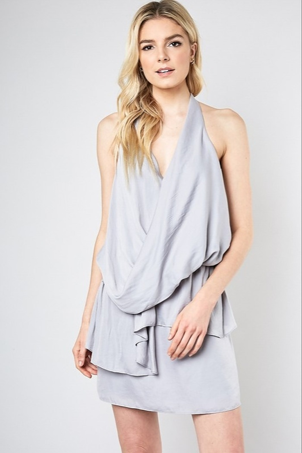 Do + Be  Layered Faux Wrap Dress - Front Cropped Image