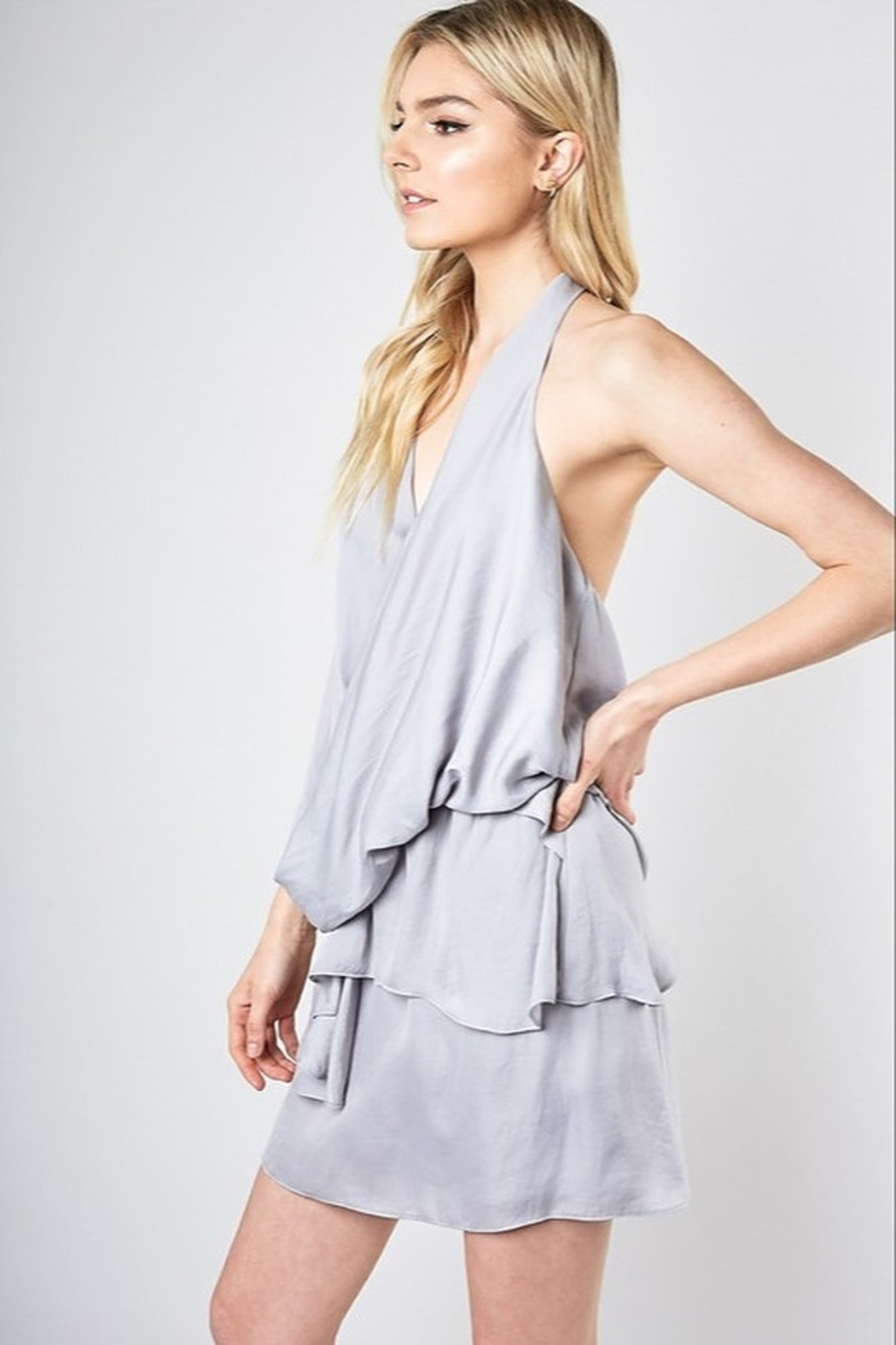 Do + Be  Layered Faux Wrap Dress - Front Full Image