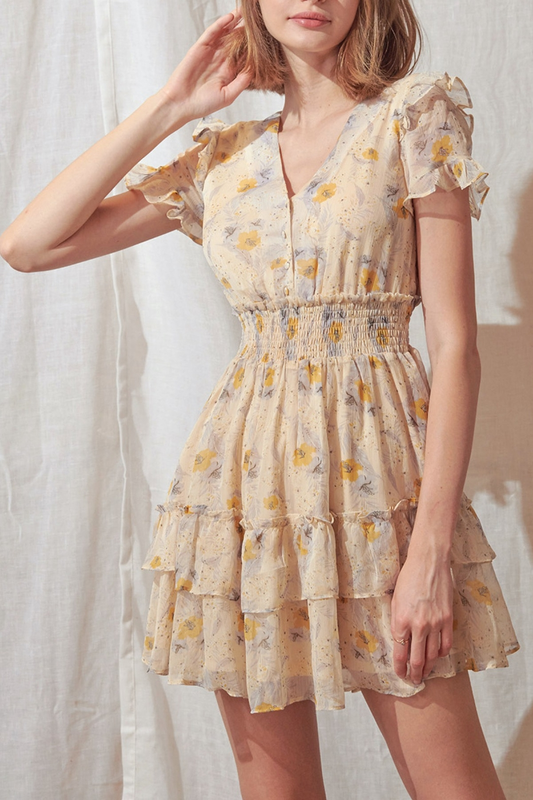 storia Layered Floral Mini-Dress - Main Image