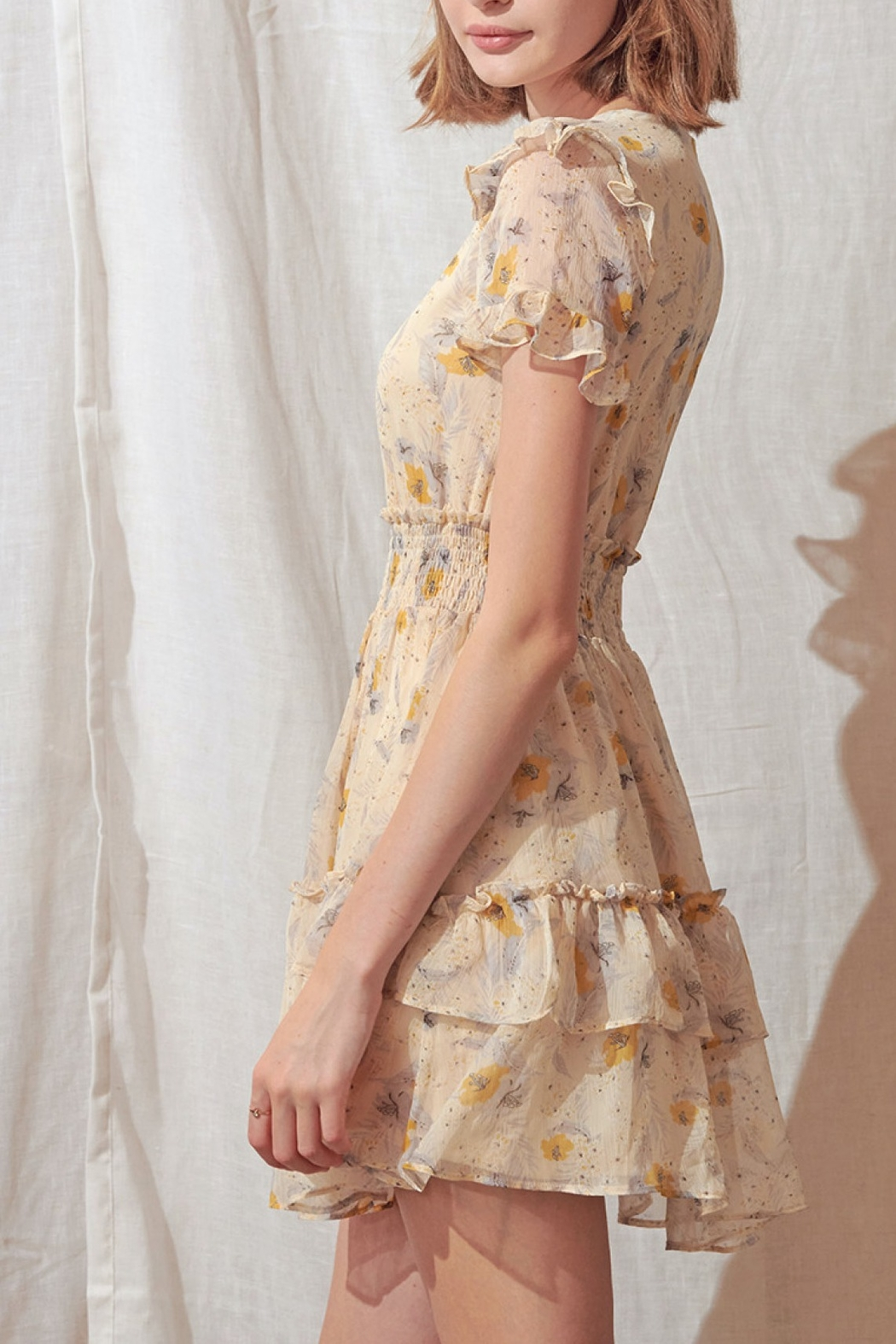 storia Layered Floral Mini-Dress - Side Cropped Image
