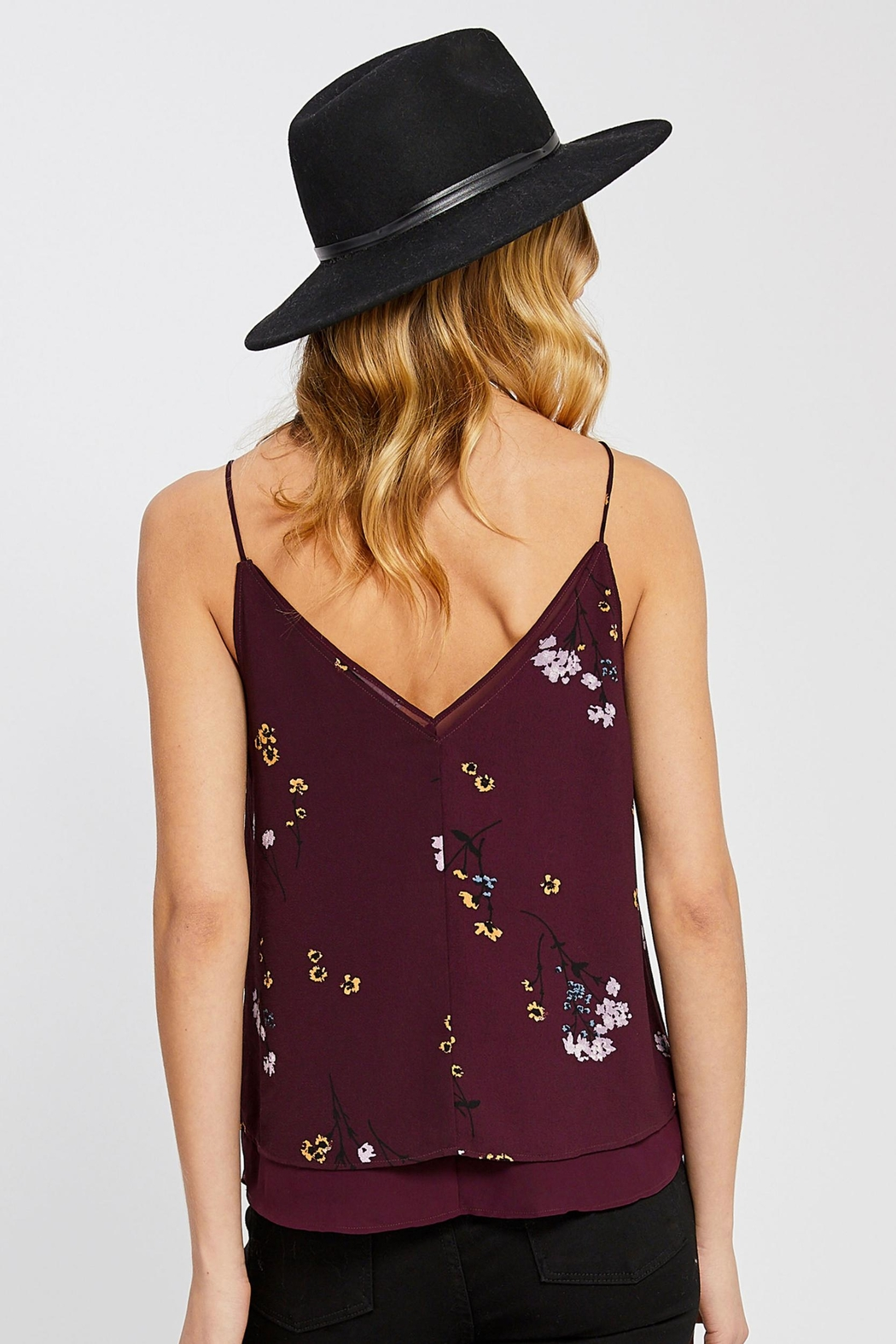 Gentle Fawn Layered Floral Tank - Side Cropped Image