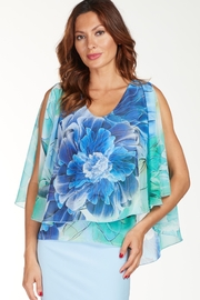 Frank Lyman Layered floral top with mesh overlay - Product Mini Image