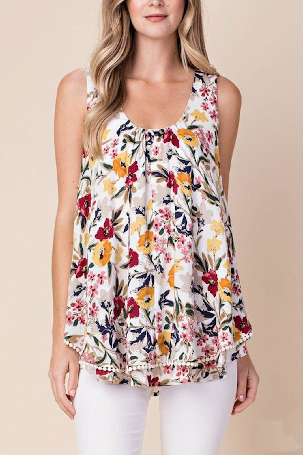 KORI AMERICA Layered Flowered Top - Front Cropped Image