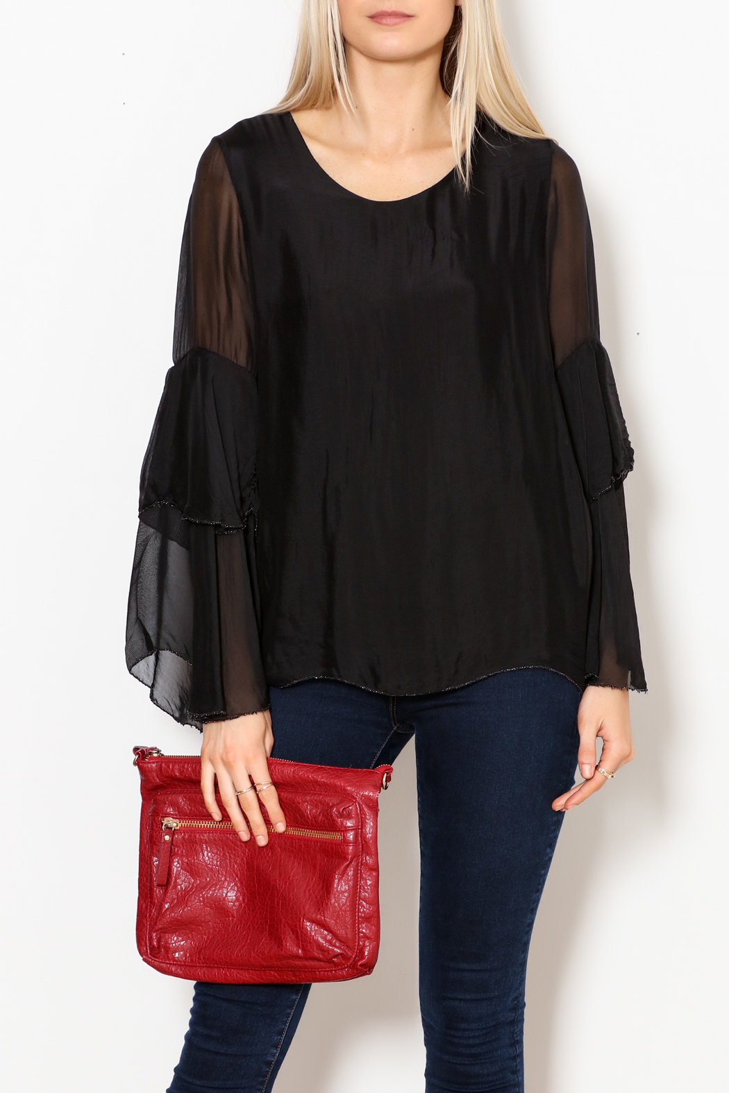 M made in Italy Layered Flutter Sleeve Top - Front Full Image
