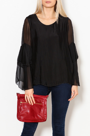 M made in Italy Layered Flutter Sleeve Top - Front full body