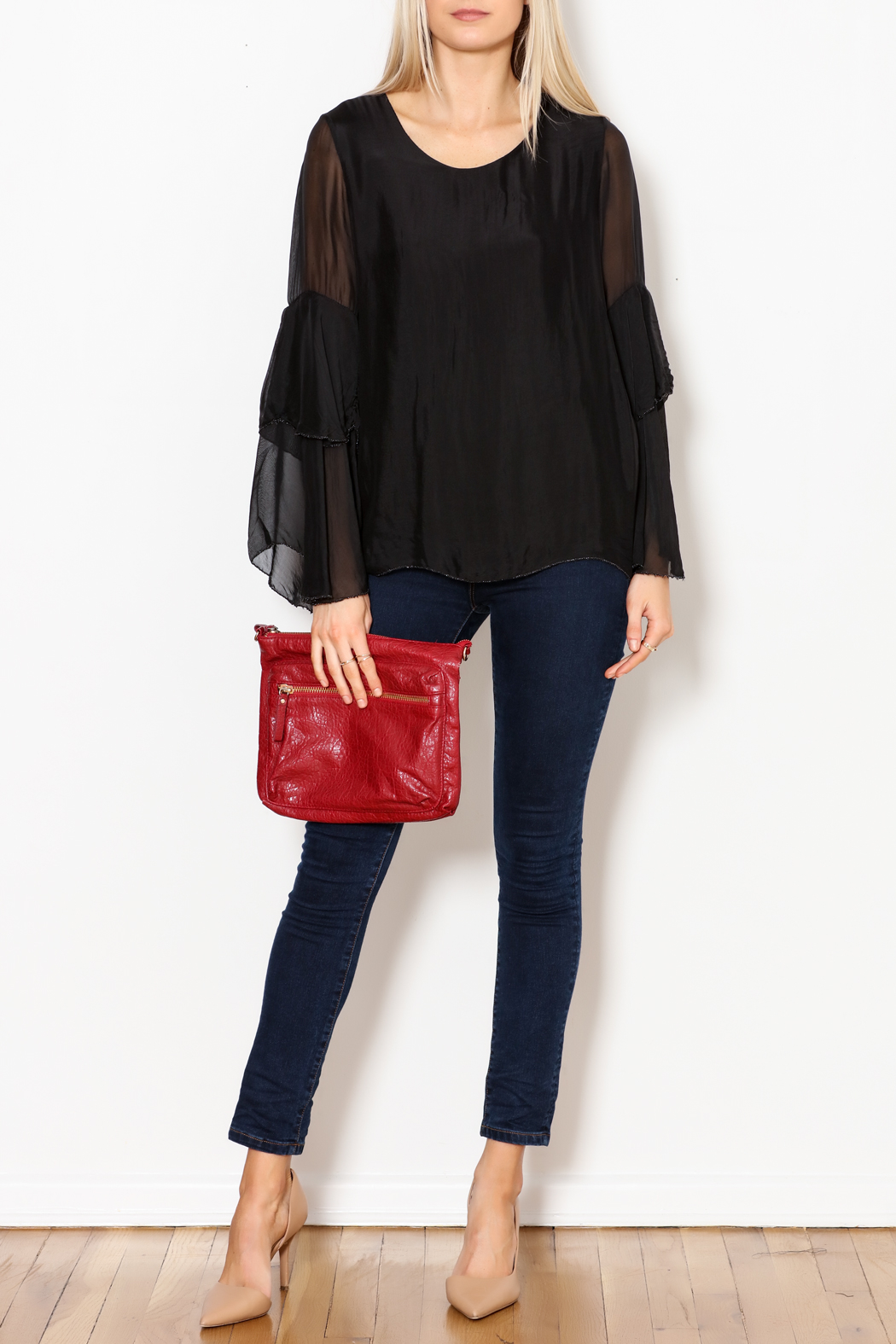M made in Italy Layered Flutter Sleeve Top - Side Cropped Image