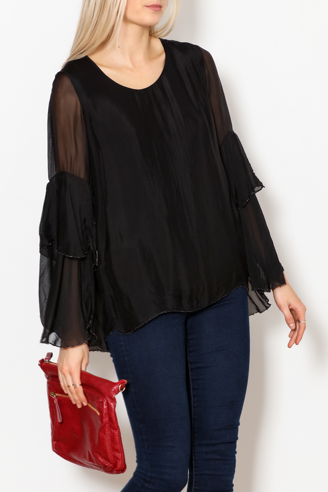 M made in Italy Layered Flutter Sleeve Top - Main Image