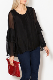 M made in Italy Layered Flutter Sleeve Top - Product Mini Image