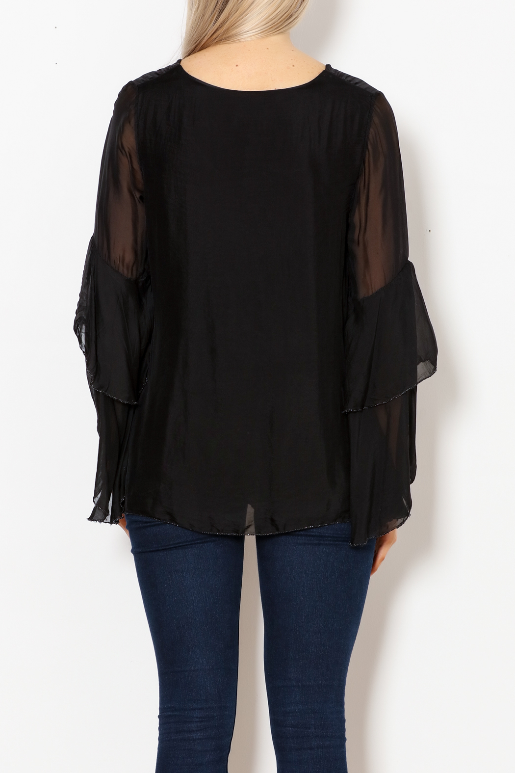 M made in Italy Layered Flutter Sleeve Top - Back Cropped Image