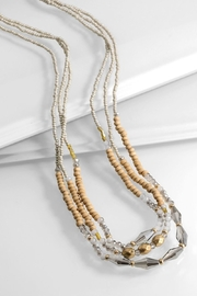 Velvet Layered Glass-Beaded Necklace - Product Mini Image