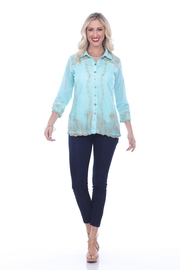 Parsley & Sage Layered Lace Button-Down - Front cropped