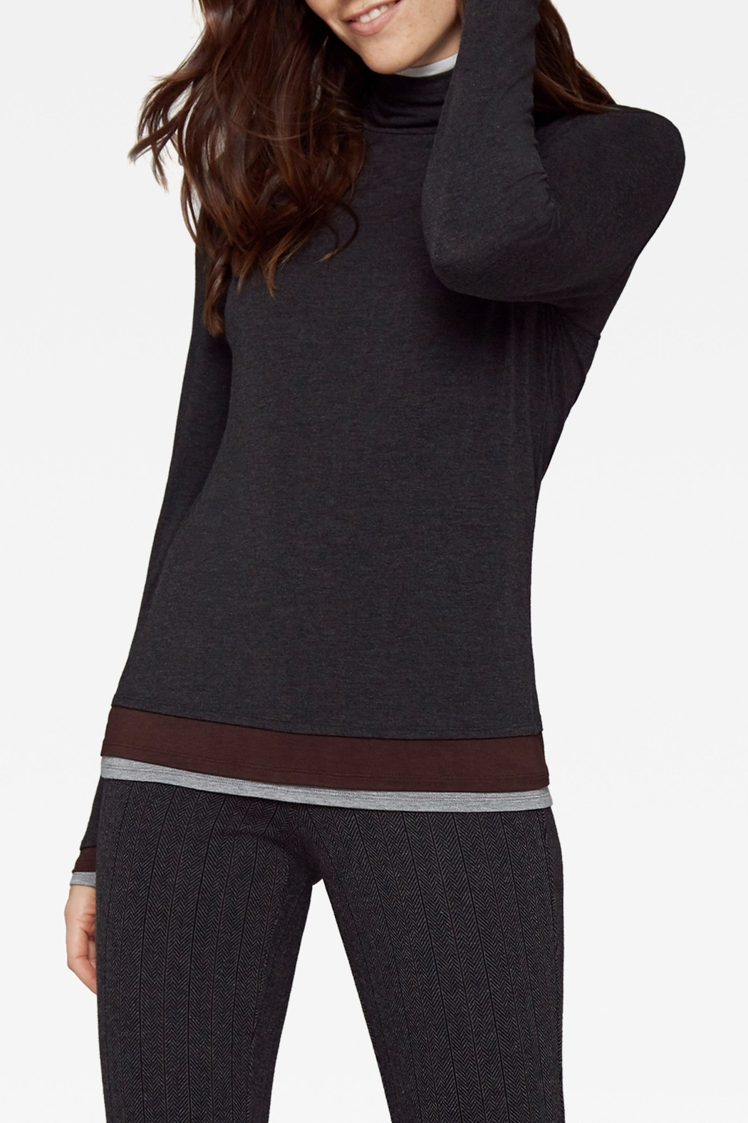 Ecru Layered Mock Neck - Front Cropped Image