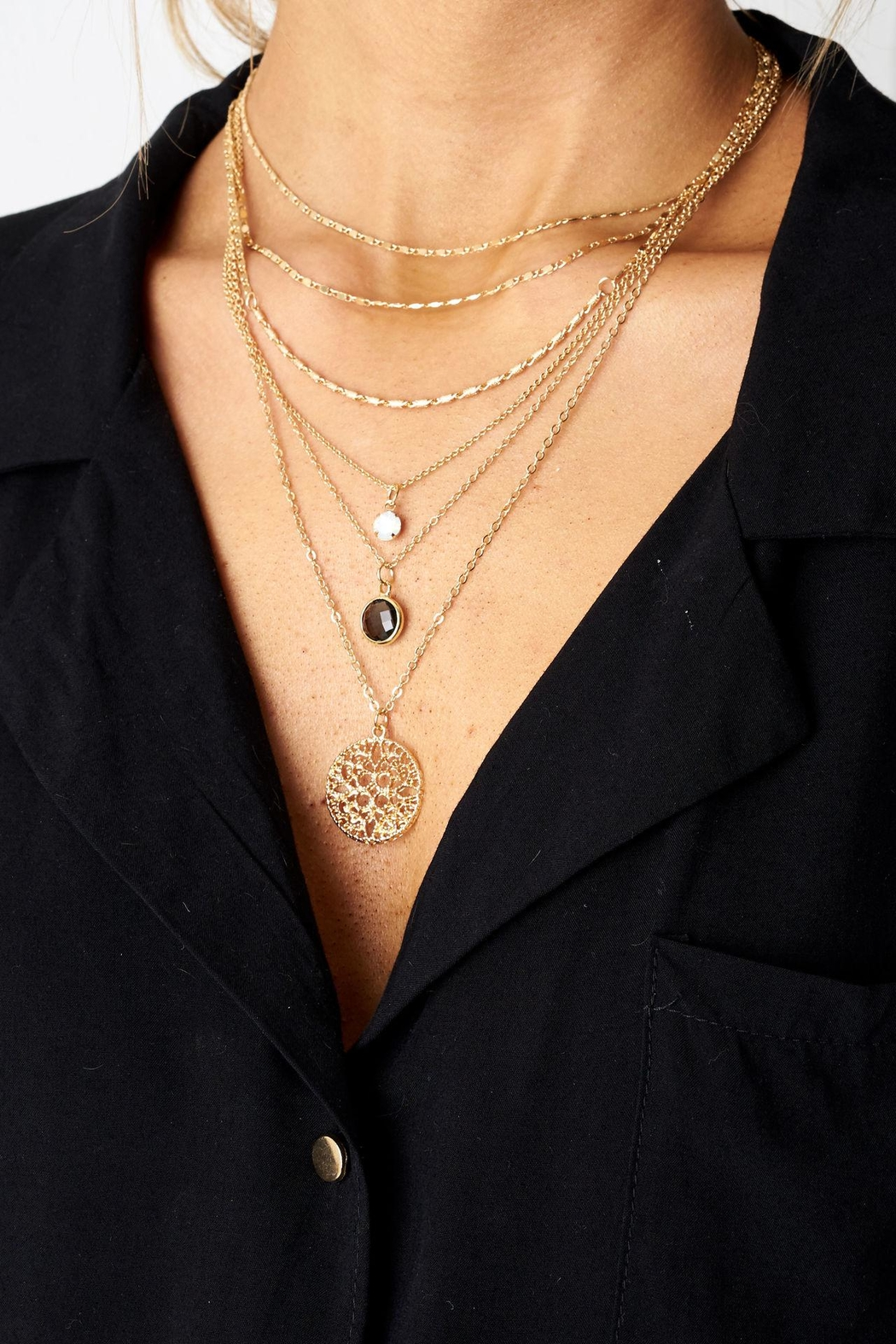 frontrow Layered Pendant Necklace - Main Image