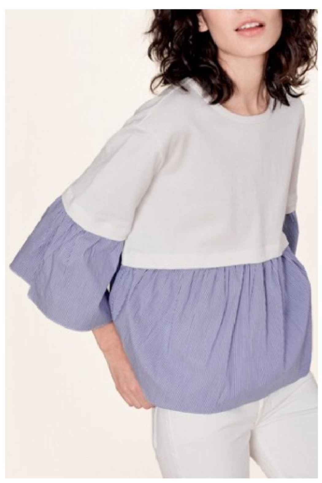 White + Warren Layered Poplin Top - Main Image