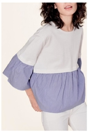 White + Warren Layered Poplin Top - Front cropped