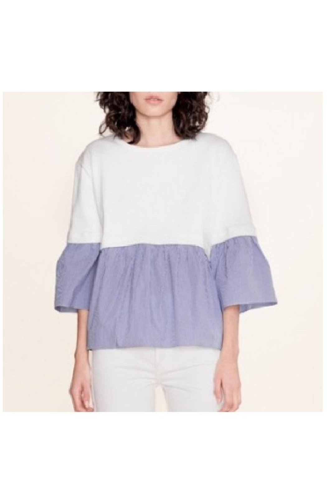 White + Warren Layered Poplin Top - Side Cropped Image