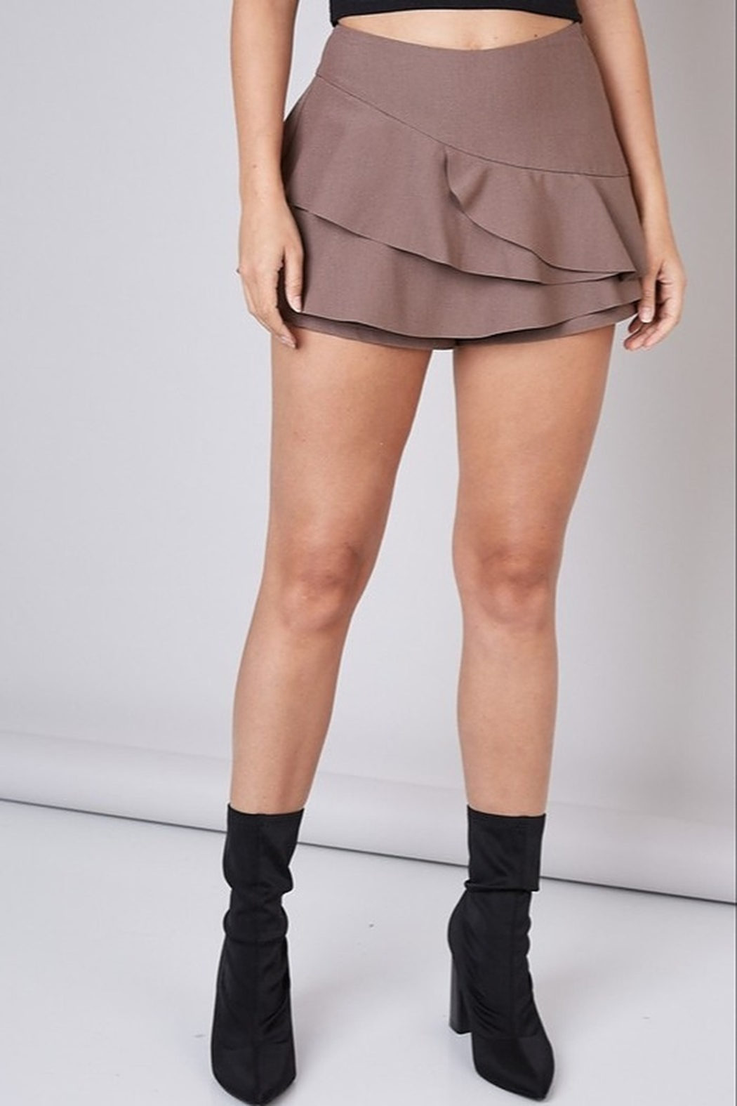 Do & Be Layered Ruffle Short - Front Cropped Image