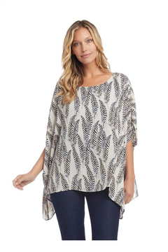 Karen Kane Layered Scarf Top, Feather Print - Alternate List Image