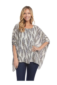 Karen Kane Layered Scarf Top, Feather Print - Product List Image