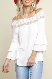 Umgee USA Layered-Sleeve Lace-Edge Ots - Front cropped