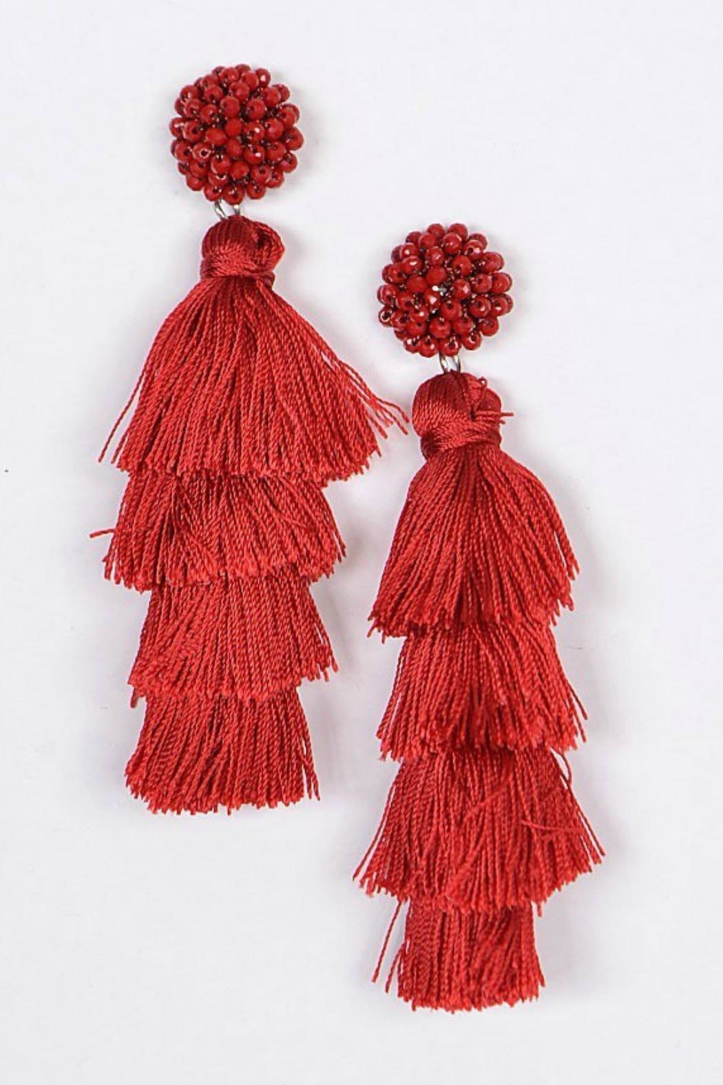 Bag Boutique Layered Tassel Earrings - Front Cropped Image