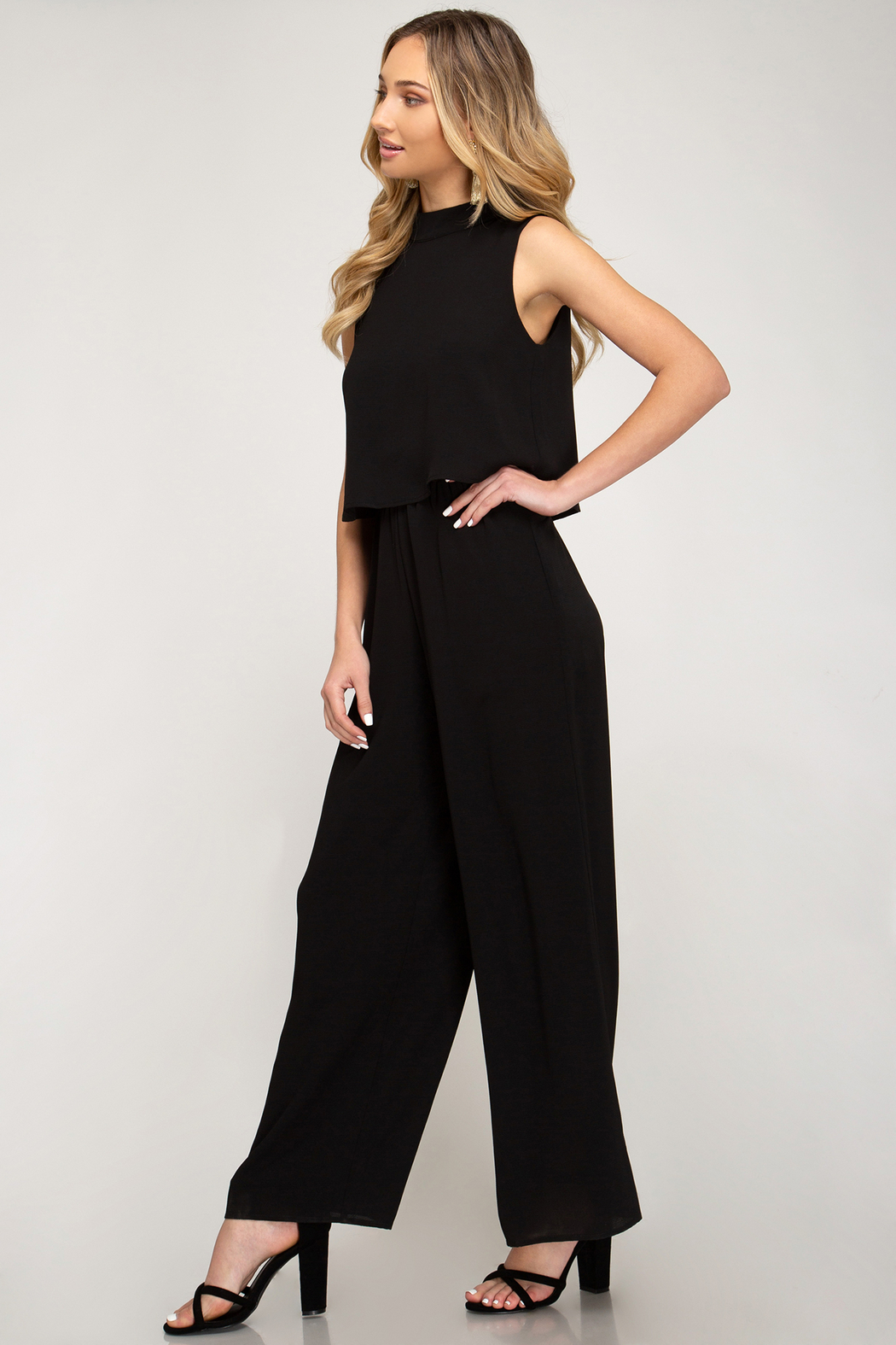 She + Sky Layered Top Jumpsuit - Front Full Image