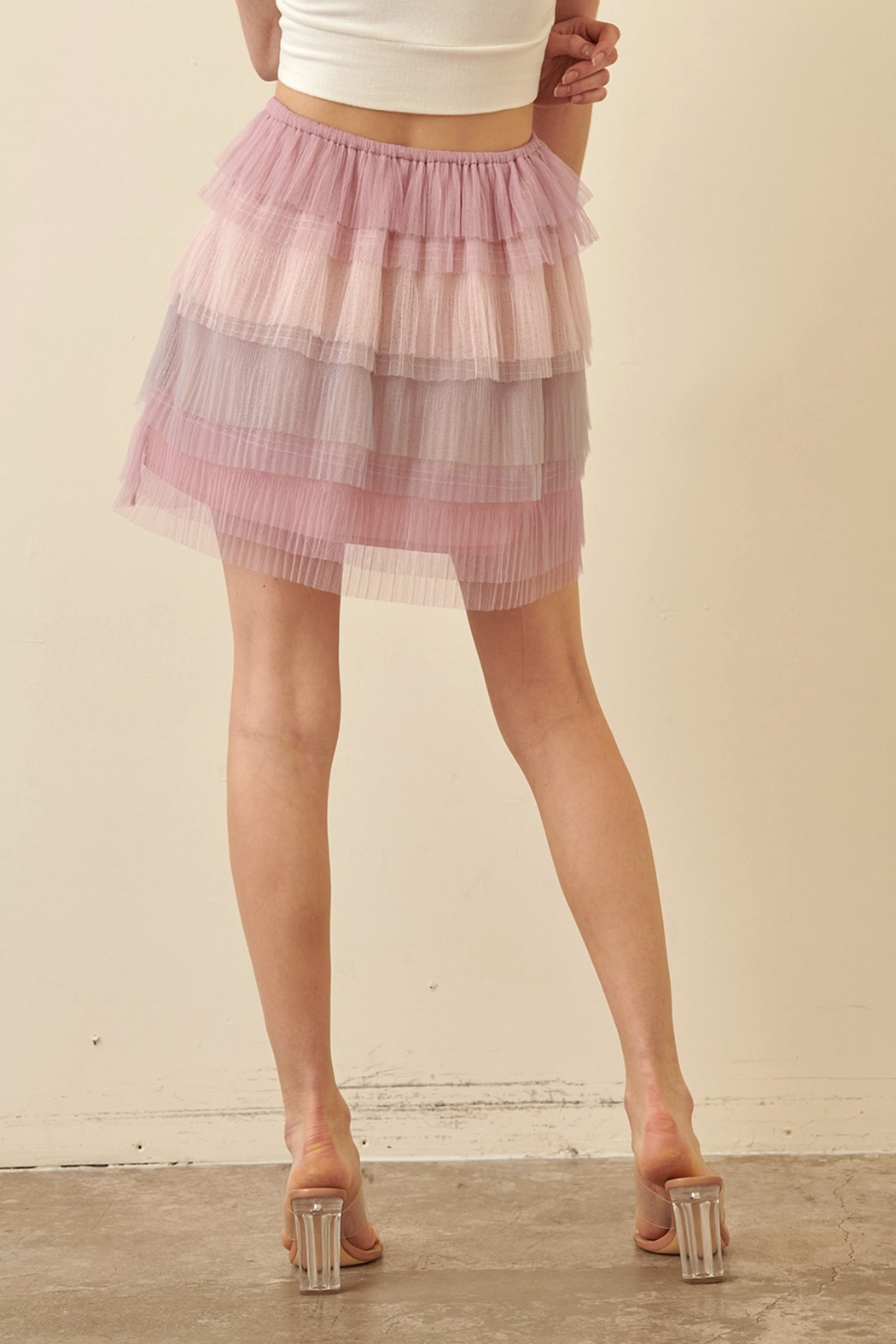 storia Layered Tulle Skirt - Back Cropped Image