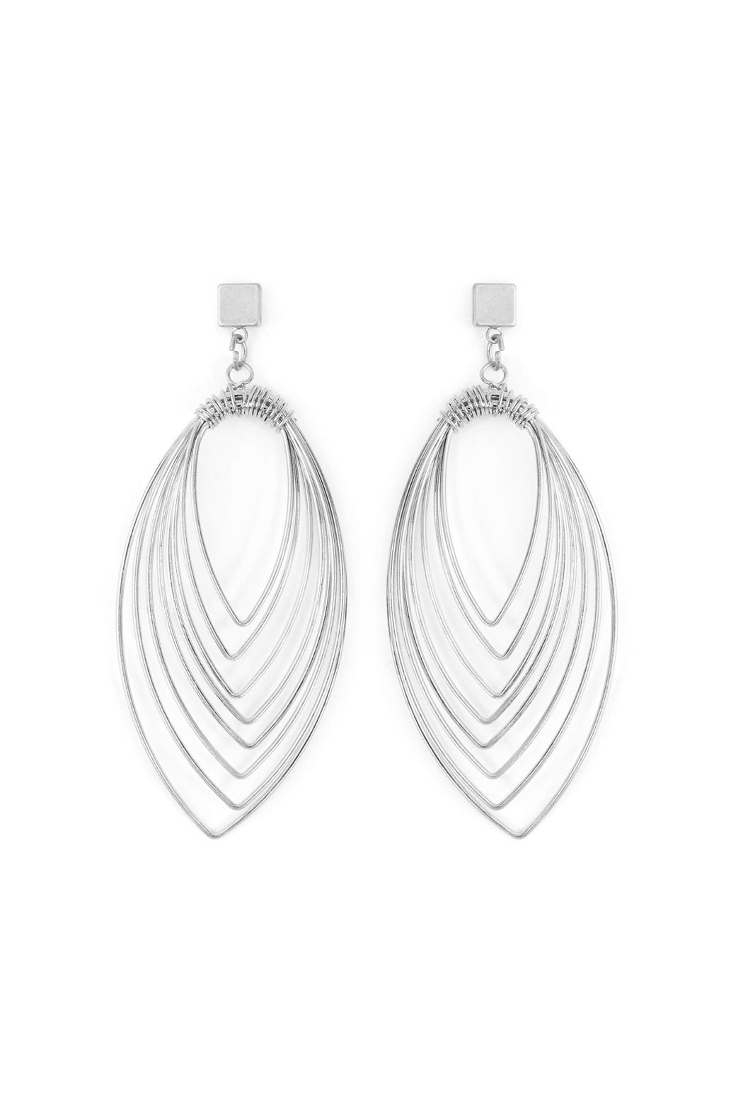 Riah Fashion Layered-Wire Petal Earrings - Front Cropped Image