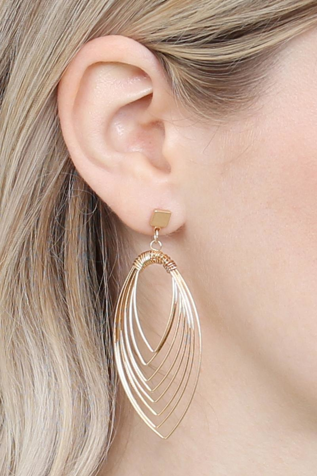 Riah Fashion Layered-Wire Petal Earrings - Front Full Image