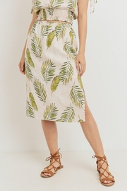 Lazy Sundays Ferns & Feathers Printed Midi Skirt - Front cropped
