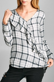 Lazy Sundays Plaid Ruffle Top - Front cropped