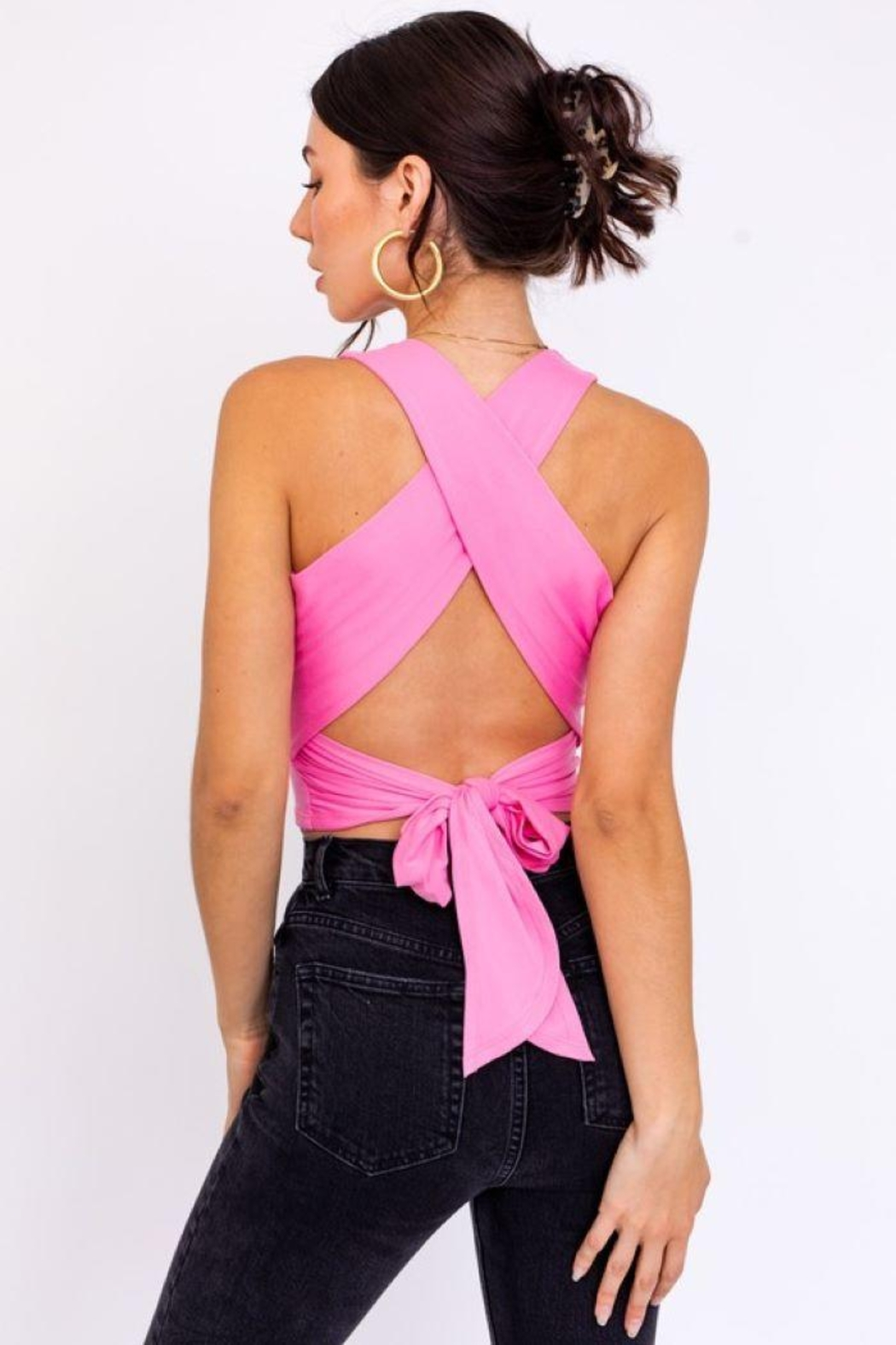 Le Lis Back Criss Cross Top - Front Full Image