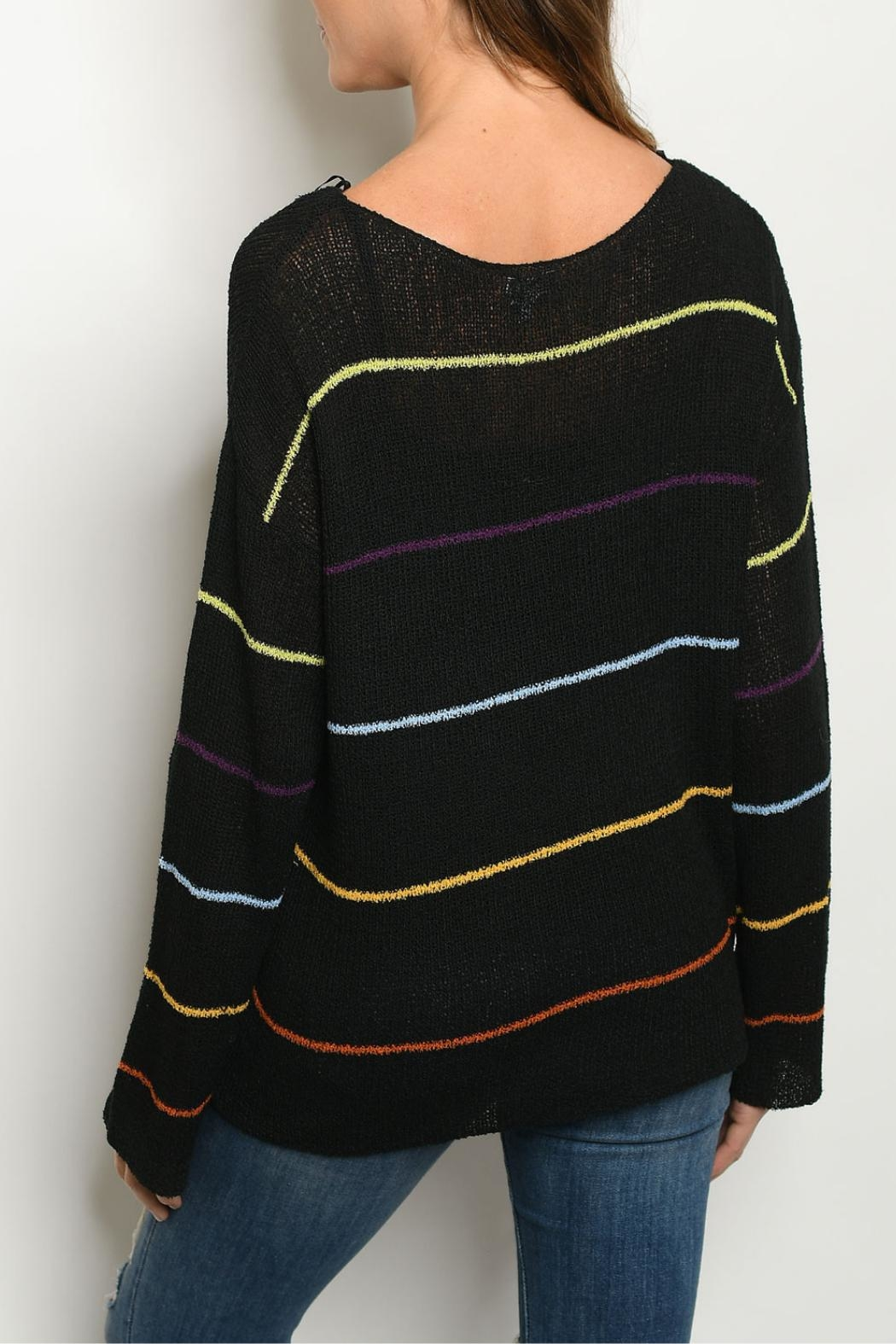 Le Lis Black Multi-Striped Sweater - Front Full Image