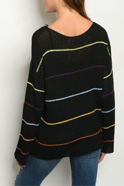Le Lis Black Multi-Striped Sweater - Front full body