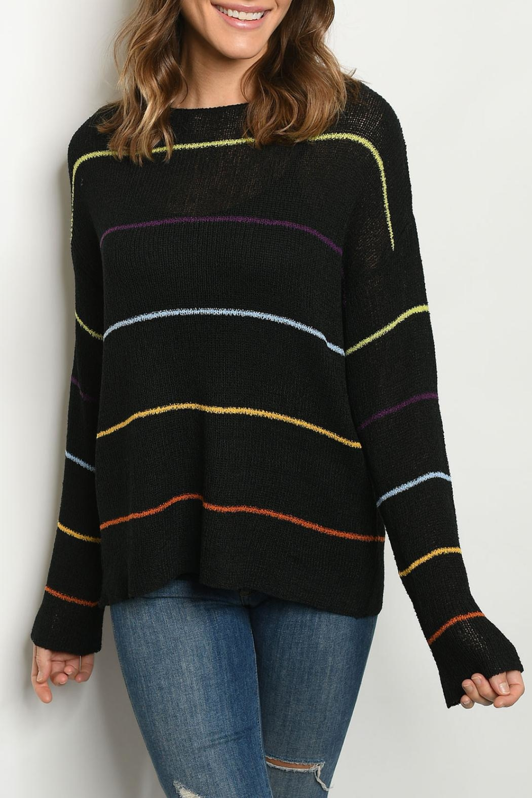 Le Lis Black Multi-Striped Sweater - Front Cropped Image
