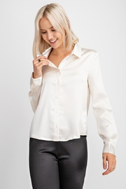 Le Lis Button-Down Satin Blouse - Product Mini Image